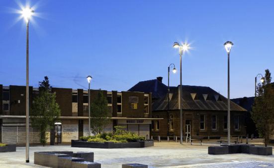 Luminaria LIRA en un alumbrado de plaza y jardín