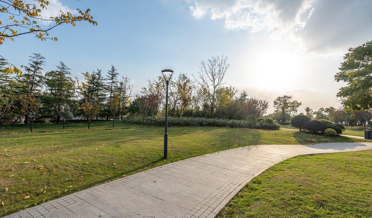 Columna telescópica iluminando parque con la luminaria Sigma-V