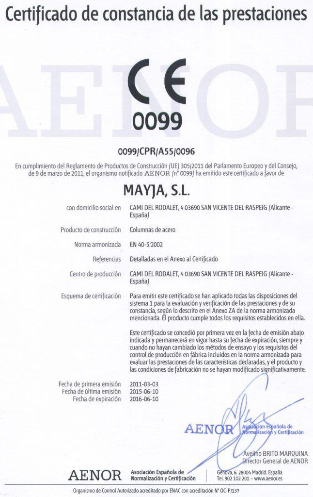Certificado de producto Aenor para Mayja
