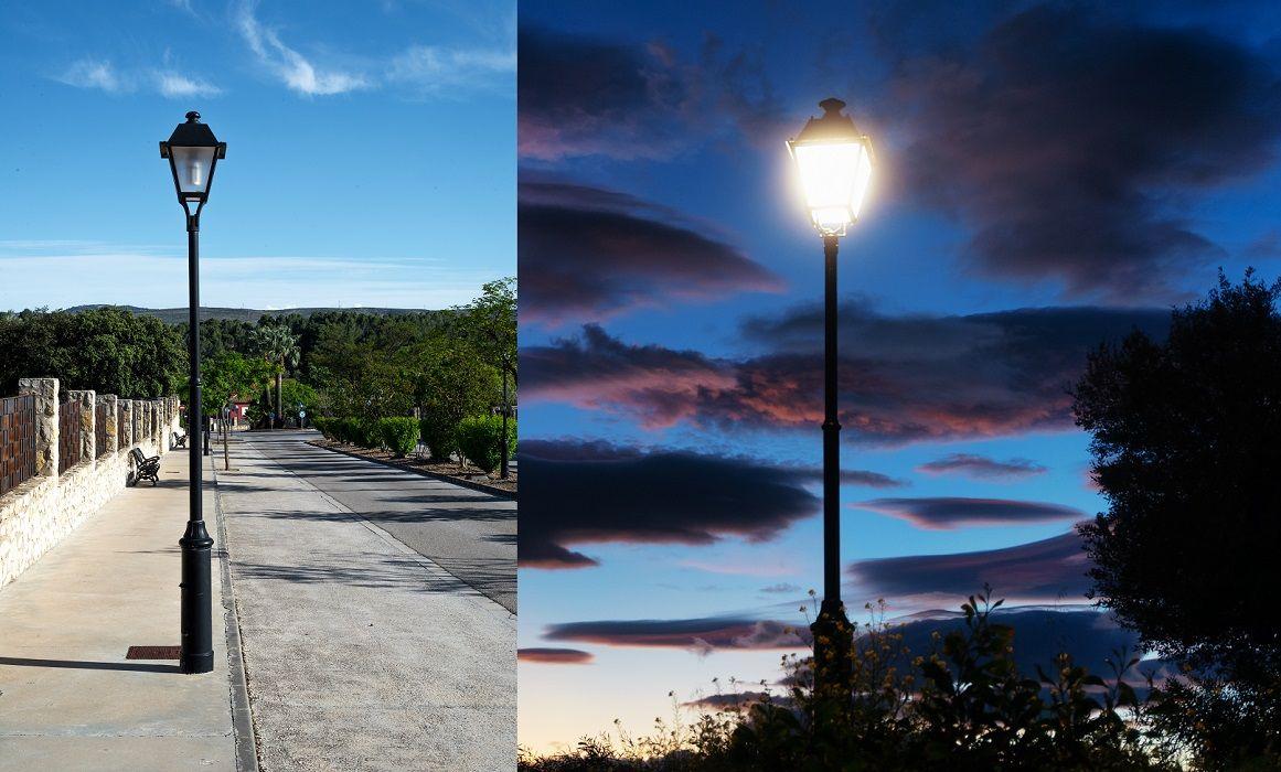 Columnas y farolas modelo Albacete para alumbrado público exterior clásico