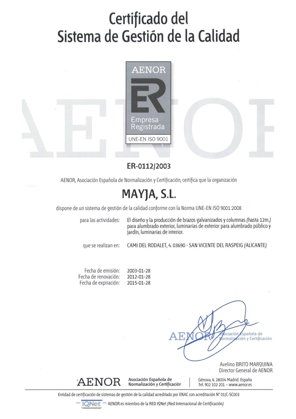 Certificado de Gestión de la Calidad