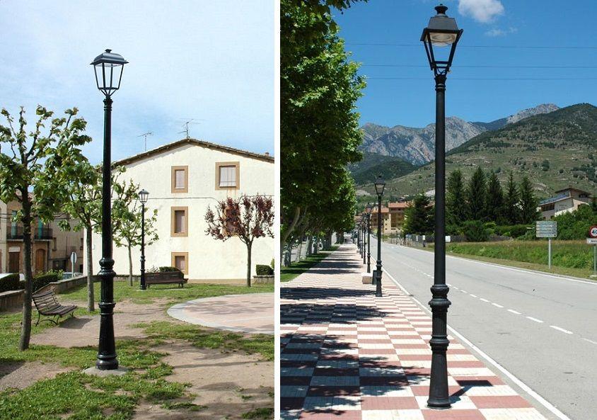 Farolas modelo Naranjo de fundición de hierro en entorno rural y urbano