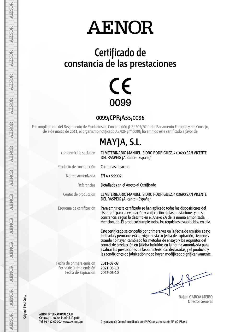 Certificado de Conformidad CE - Norma EN 40-5